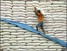 Global rice prices have increased by more than 90 percent in the last year. Photo: AFP