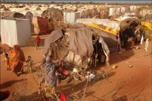 One of the world's biggest refugee camps lies on Kenya's border with Somalia.  The Dadaab camp, designed to hold  90,000 refugees, now gives shelter to more than three times that number. Photo: BBC