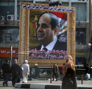 A banne with a large photograph of the soon-to-be-ected president, Abdel Fattah el-Sisi, displayed in Cairo in March. Photo: Amr Abdallah Dalsh/Reuters