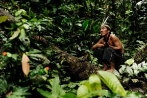 This hunter is a member of the Waorani community, an Amazonian indigenous people who live in eastern Ecuador. Photo: Courtesy Nicolas Villaume, Land is Life